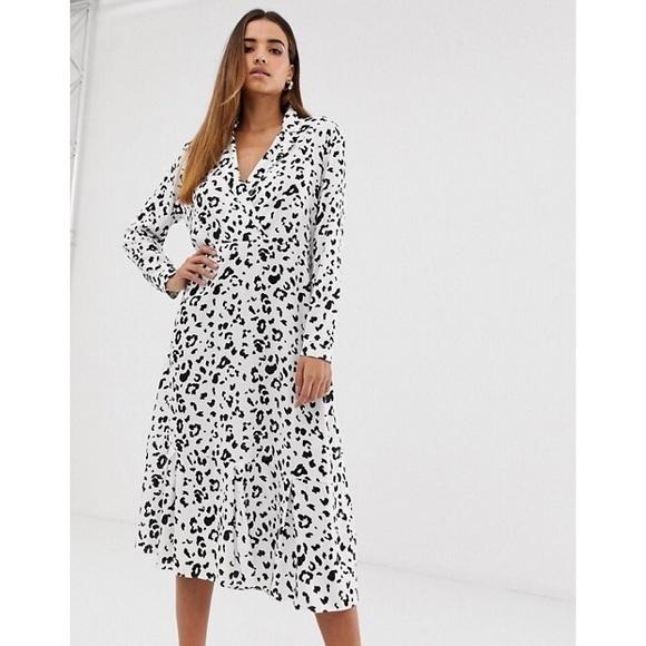 asos collar detail midi dress in mono leopard prin